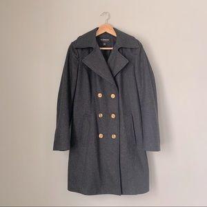 Liz Claiborne Brass Button Long Wool Pea Coat
